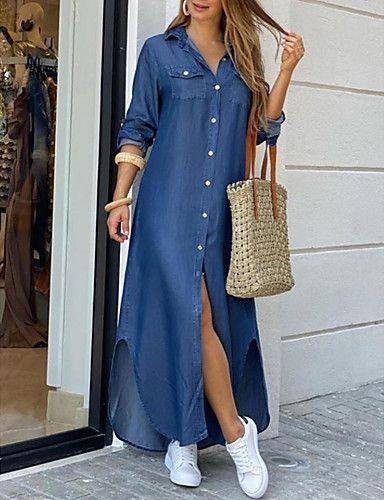 Diseños de vestidos camiseros largos con tenis