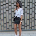 Faldas de cuero con tenis